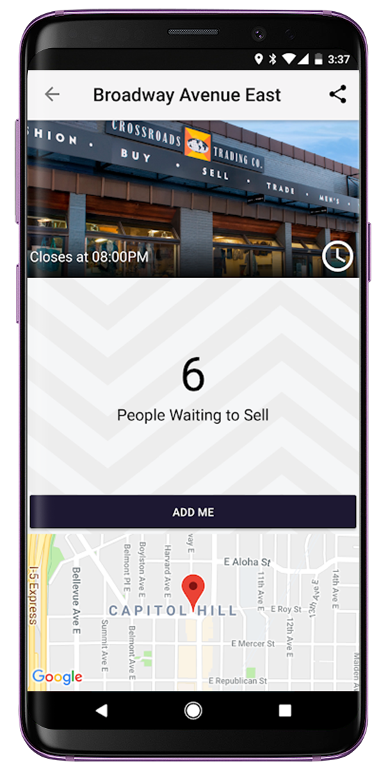 Crossroads app on an Android device
