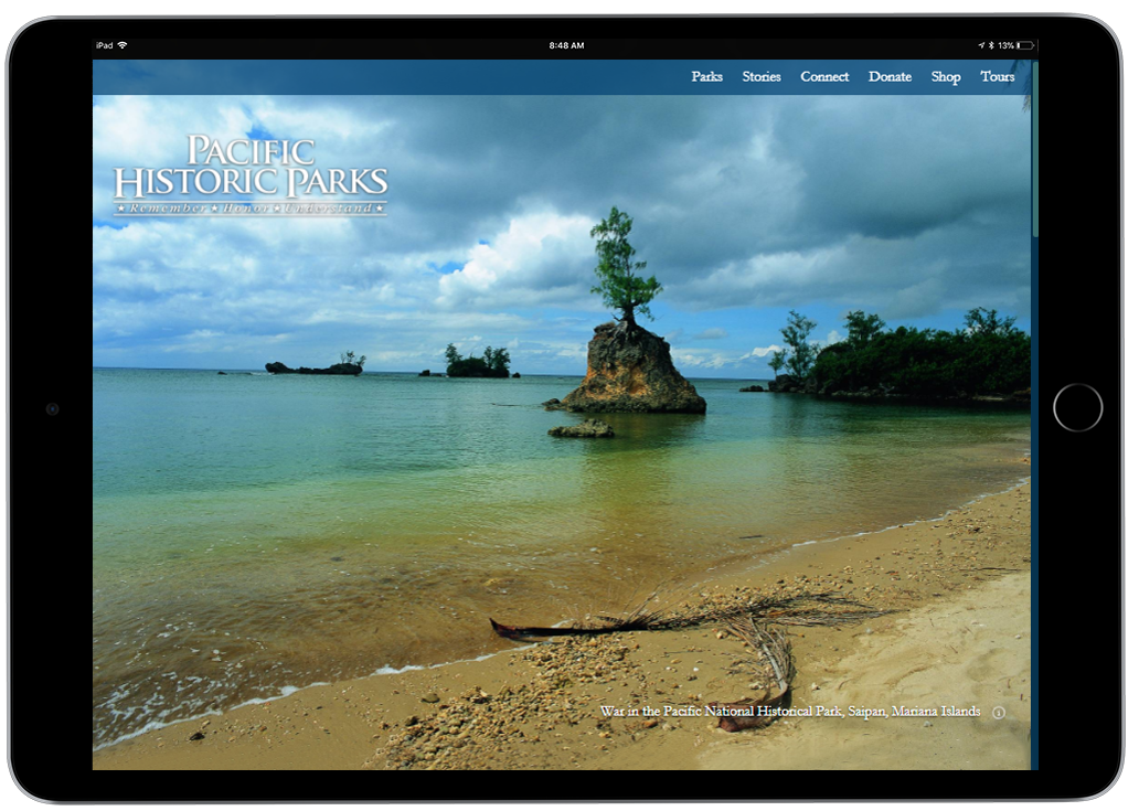 Pacific Historic Parks website on an iPad